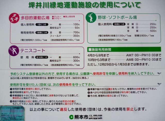 坪井川緑地運動施設の使用について