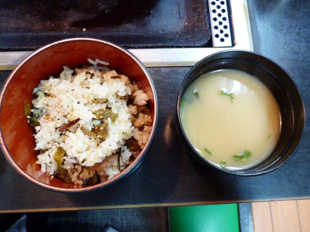高菜ごはん・お味噌汁