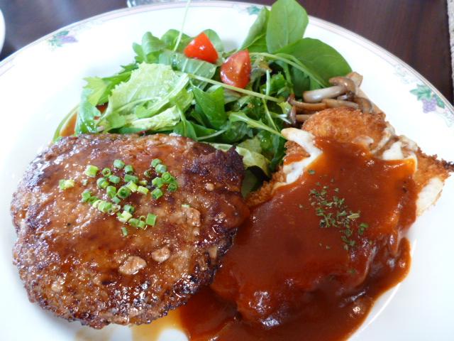 ハンバーグ・チキンカツレツ・サラダ