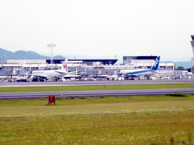 熊本空港裏 飛行機