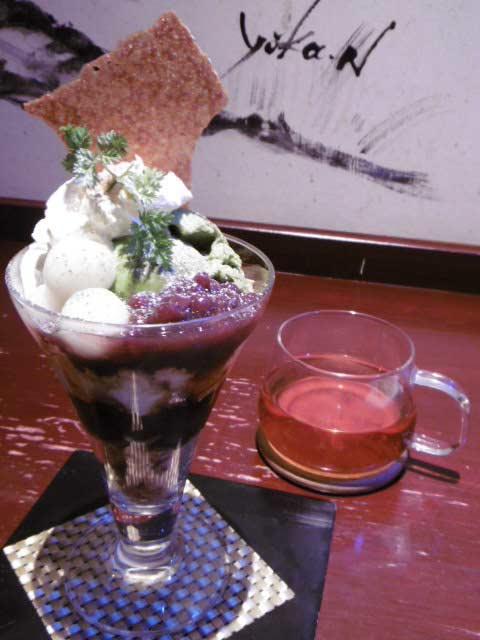 抹茶パフェと紅茶(フレンチマスカット)